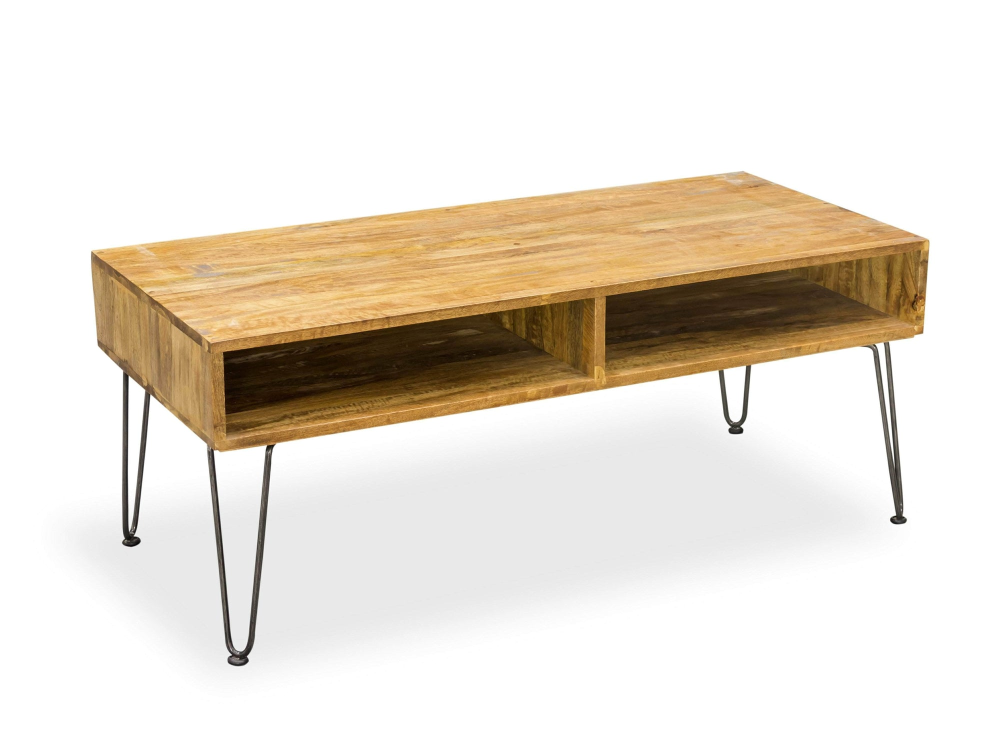 Coffee table made from mango wood, with two storage compartments and hairpin steel legs