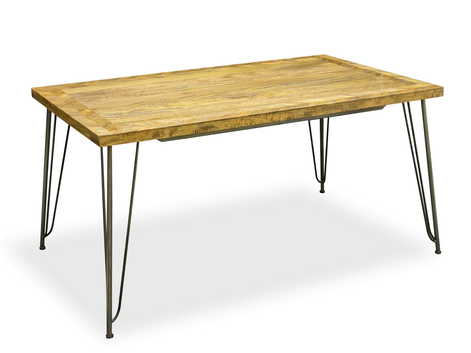 Dining table with mango wood top and steel hairpin legs