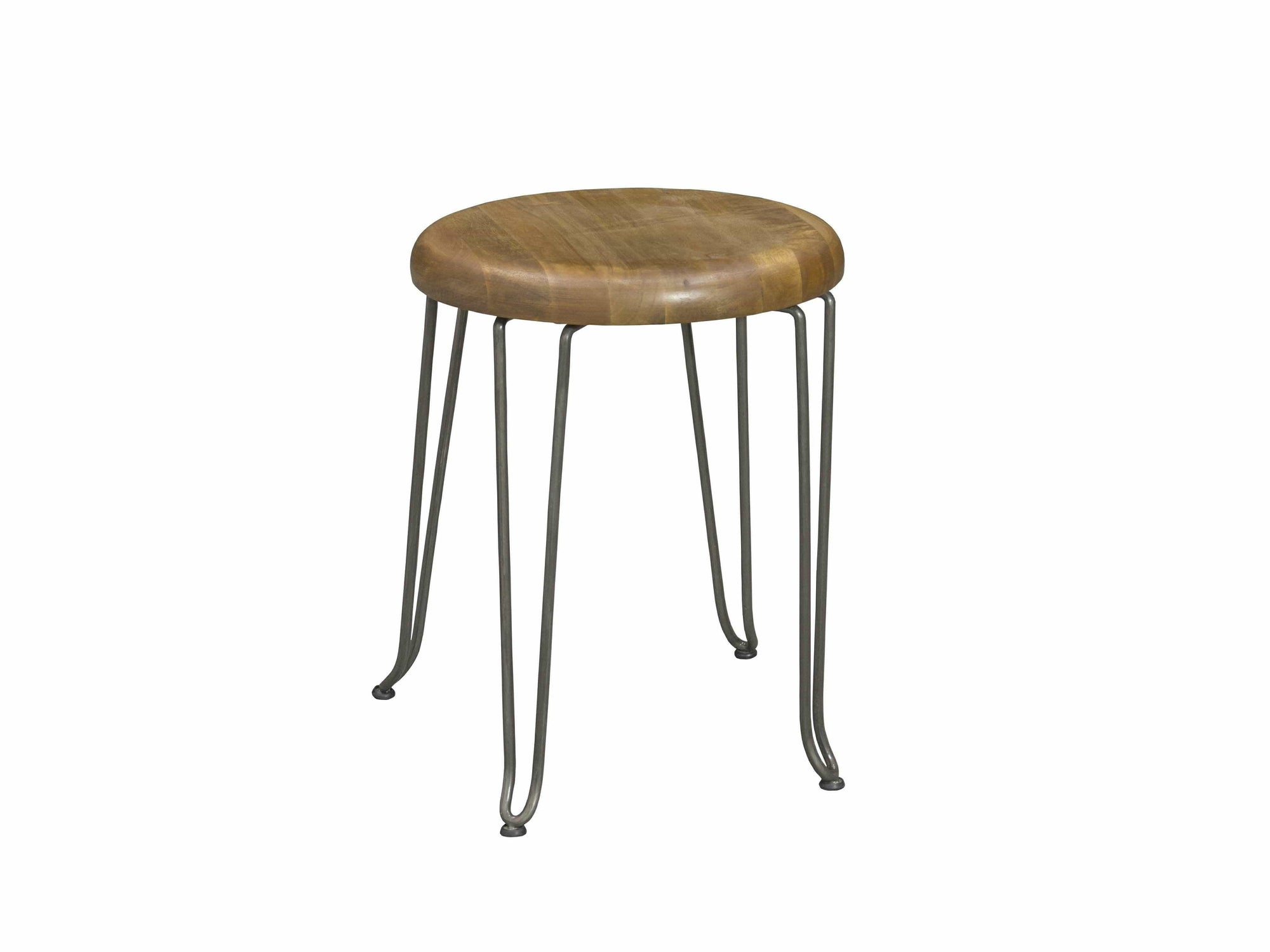 Small stool with steel hairpin legs
