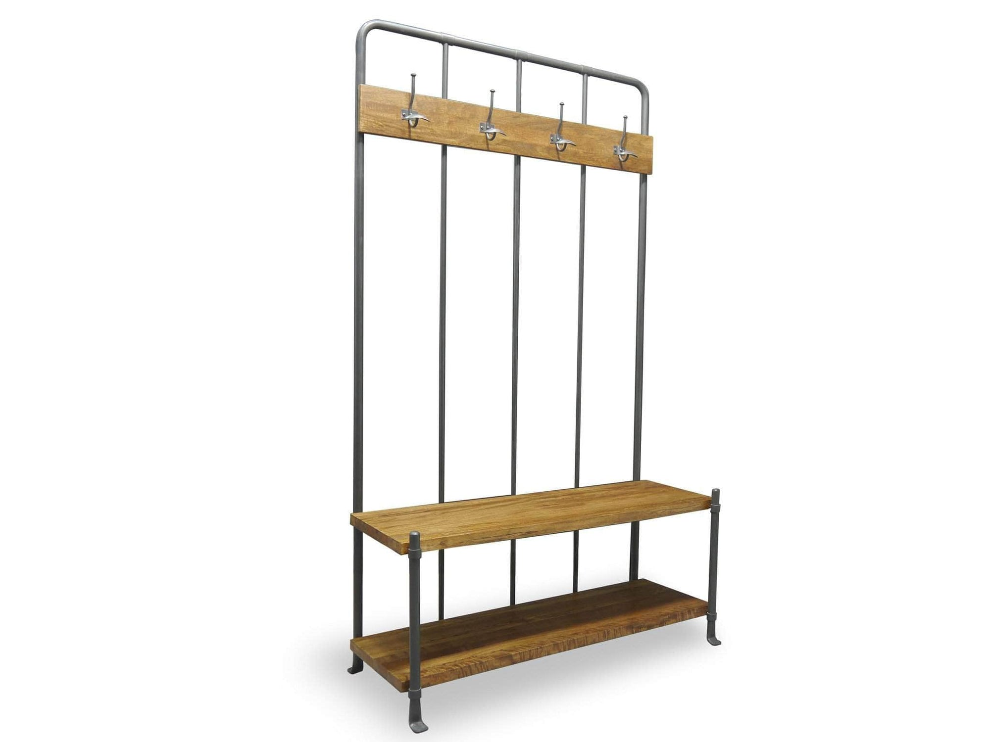 Industrial style freestanding hallway coat rack. Bottom of unit includes bench and storage shelf. Made from mango wood and steel.