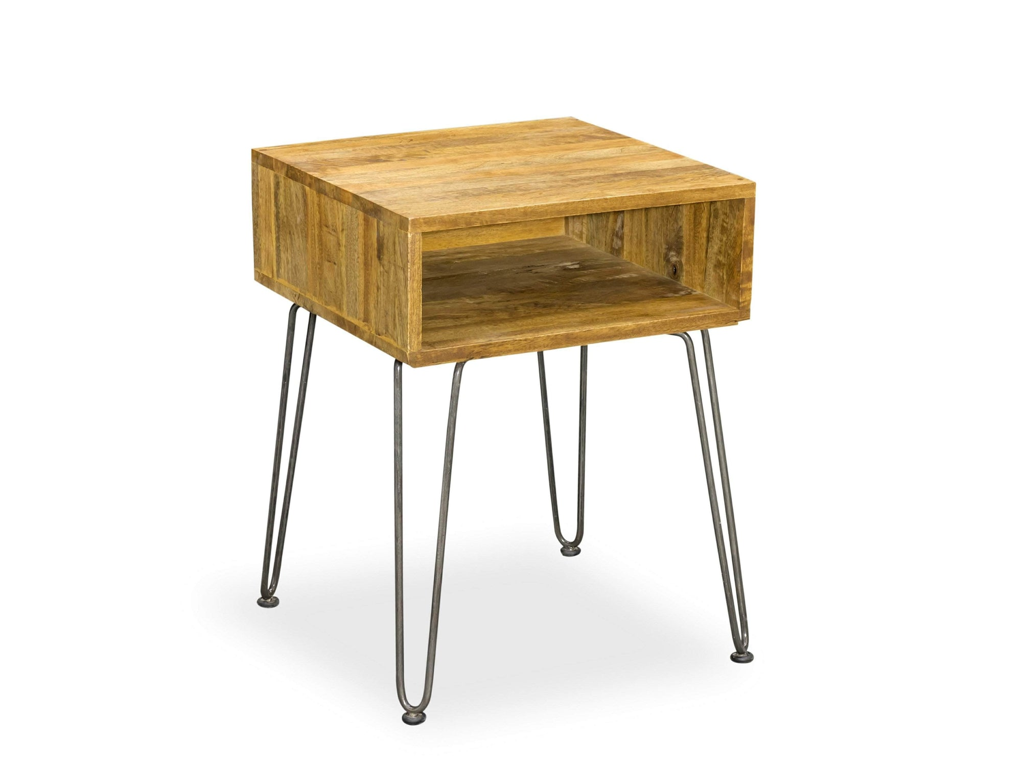 Mango wood side table with steel hairpin legs