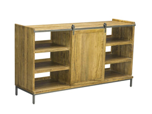 Industrial sideboard with nine storage shelves and sliding panel