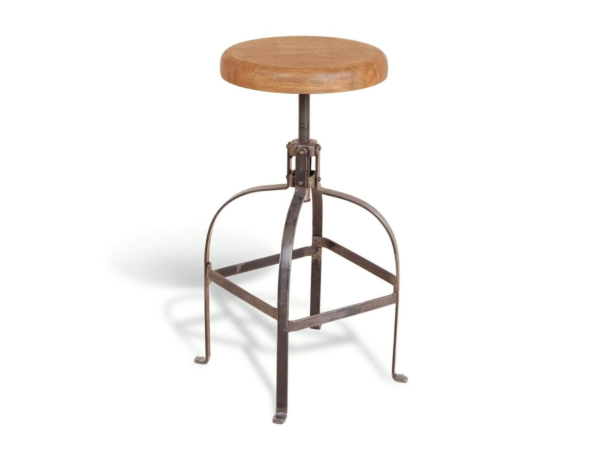 Industrial style stools with core screw to adjust seat height