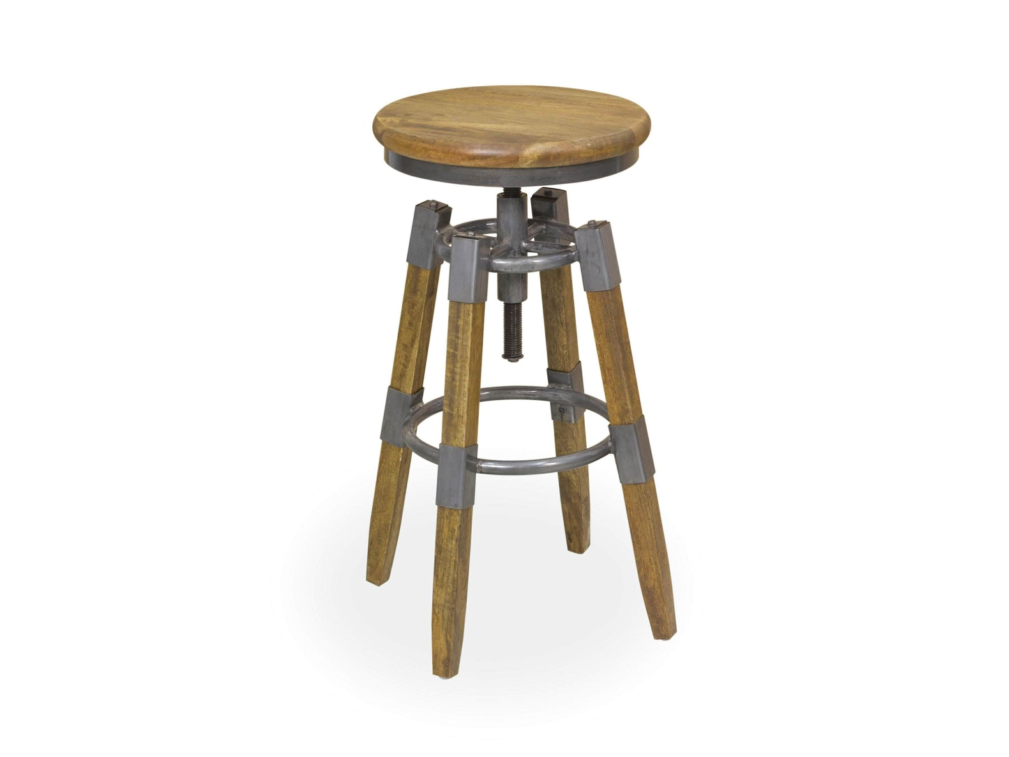 Four legged industrial-inspired stool with core screw for adjustable seat height