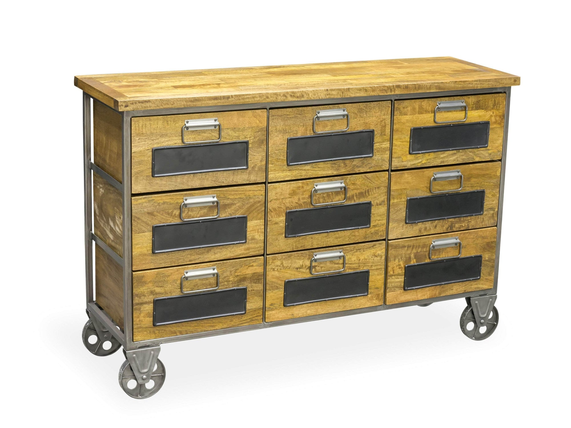 Industrial style storage chest with nine drawers, plus steel frame and supporting wheels
