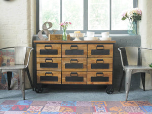 London low industrial apothecary chest of drawers