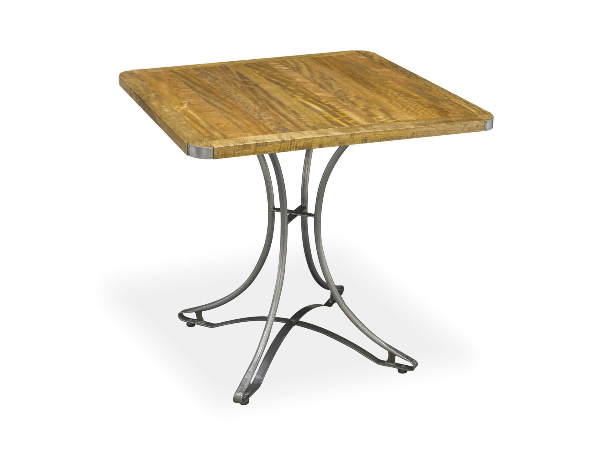 Small, square industrial dining table suitable for two to four diners