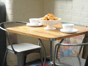 London square industrial dining table in room view