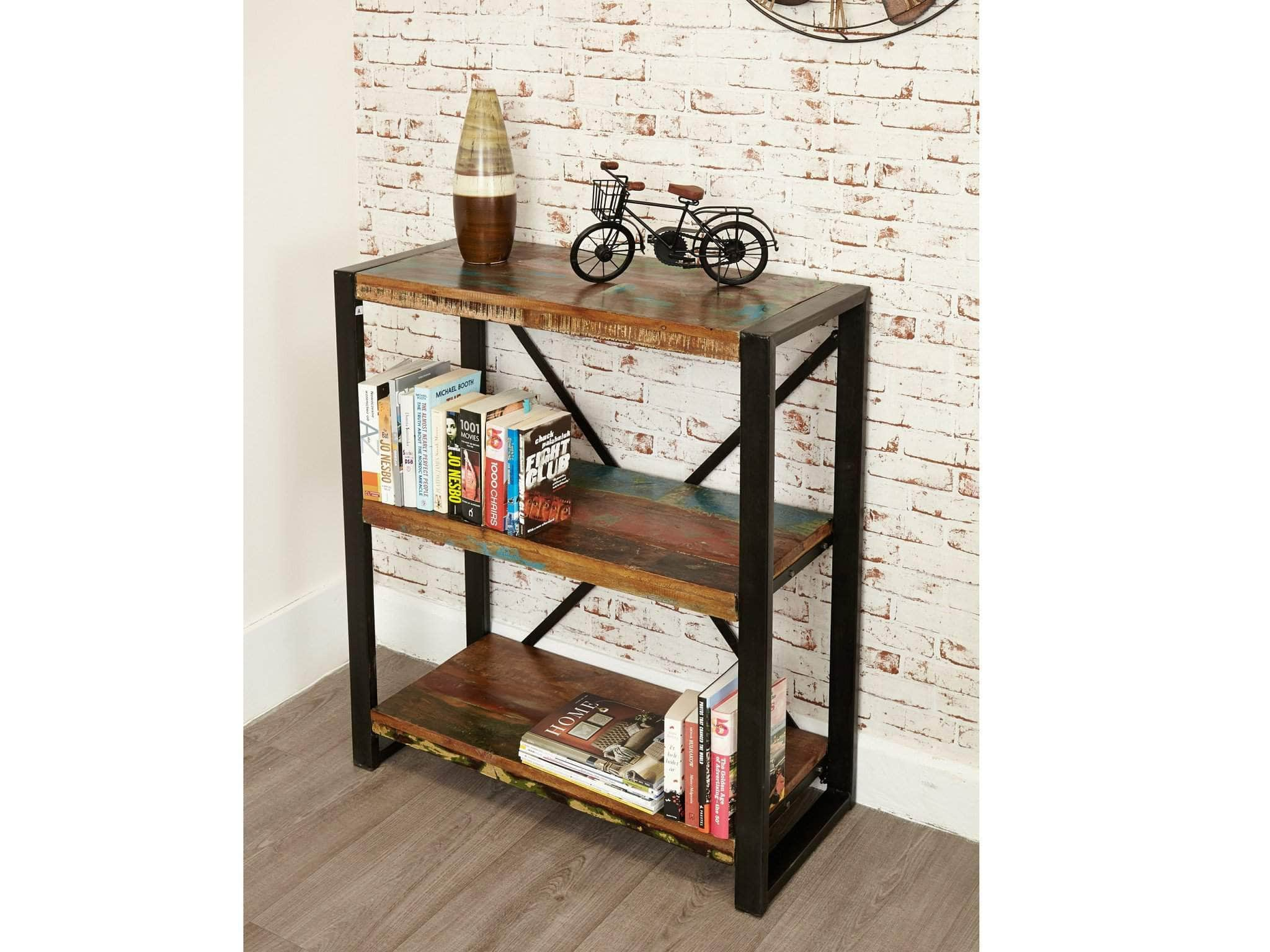 Bookcase Table Low Height Reclaimed Wood Bookcase Unni Evans