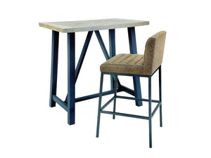 Loxton industrial style bar table with bar chair