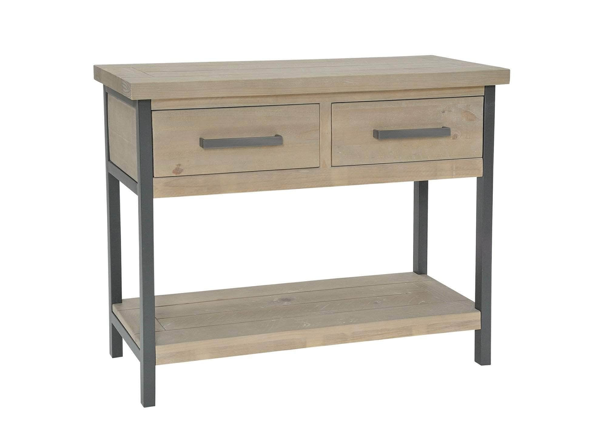 Hallway console table in industrial style, with steel frame and drawer handles