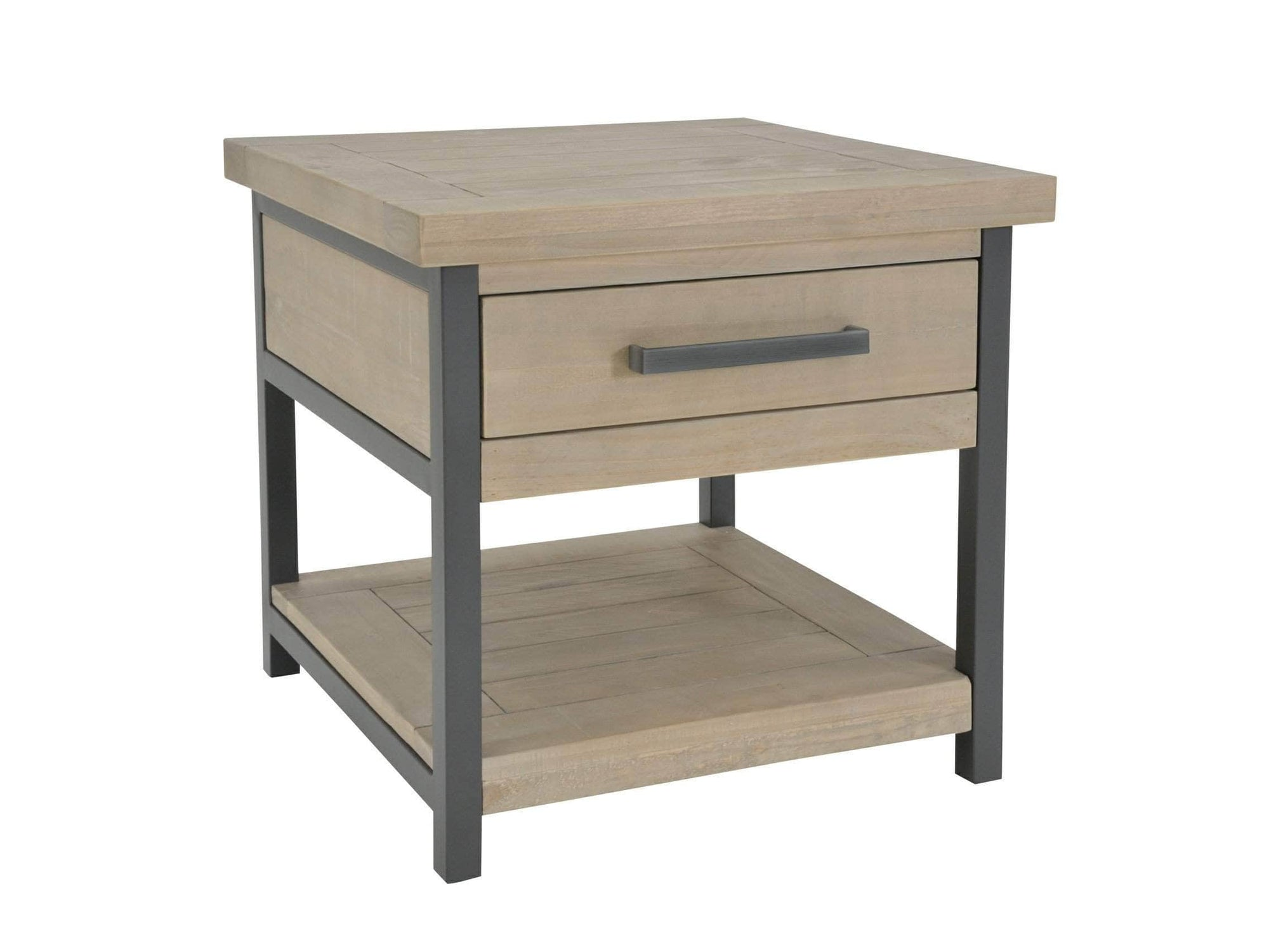 Industrial design side table with large drawer and shelf underneath