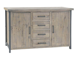 Large sideboard for industrial style home. Four drawers and two cupboards with steel handles, as well as steel frame.