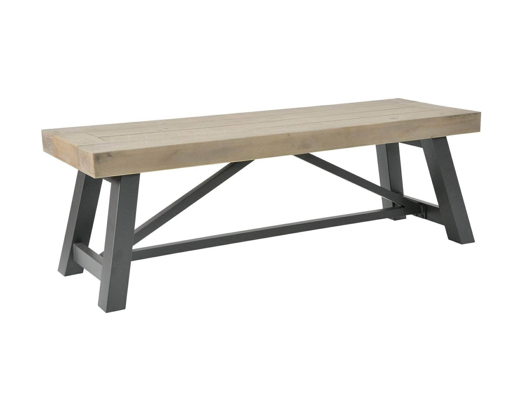 Industrial style dining bench with reclaimed wood seat and power-coated steel base. Available in choice of sizes.