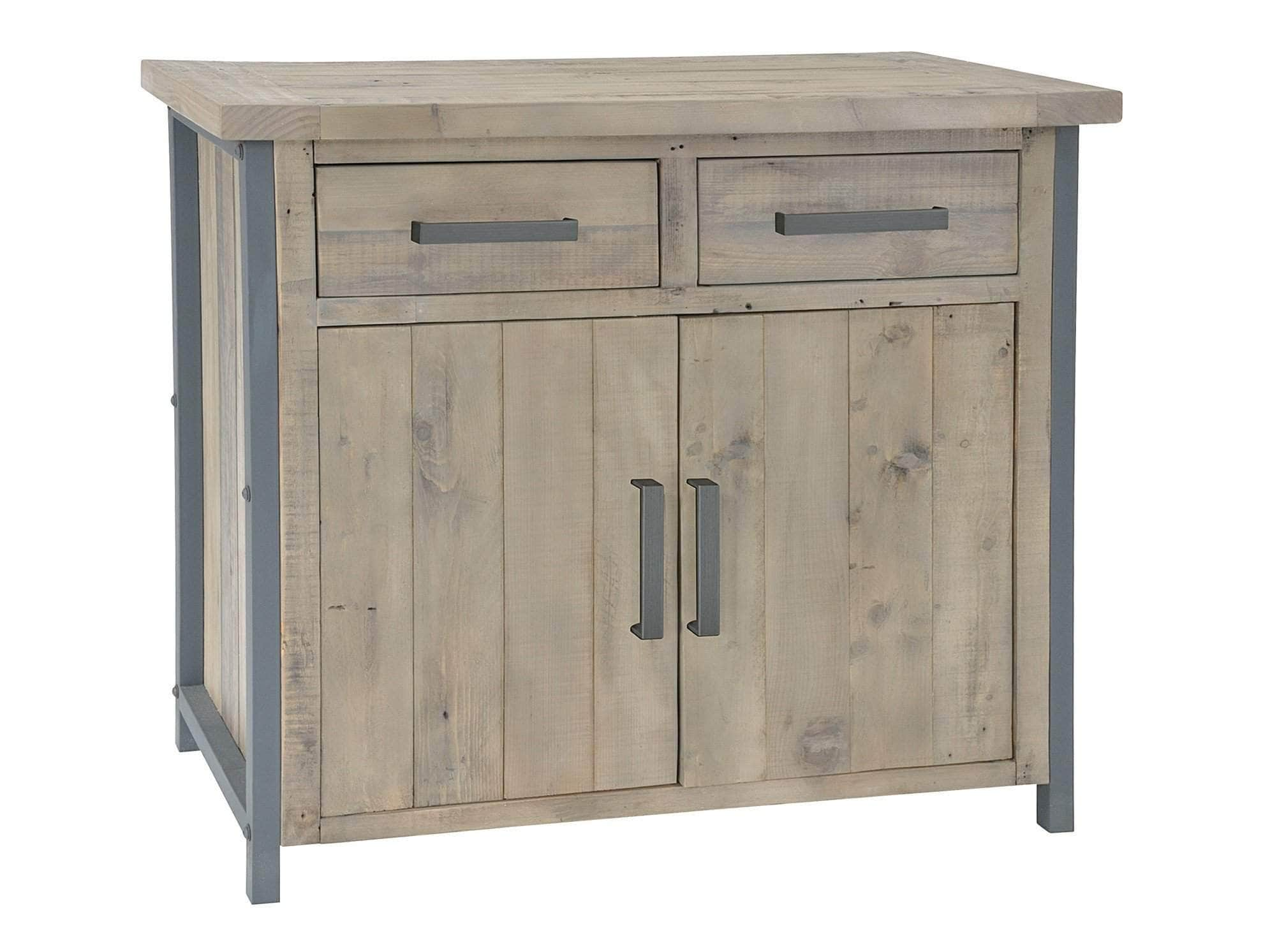 Small industrial sideboard made from reclaimed wood and steel, with two drawers and one cupboard