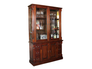 Large mahogany display cabinet, with storage drawers and cupboard at bottom and glass top section