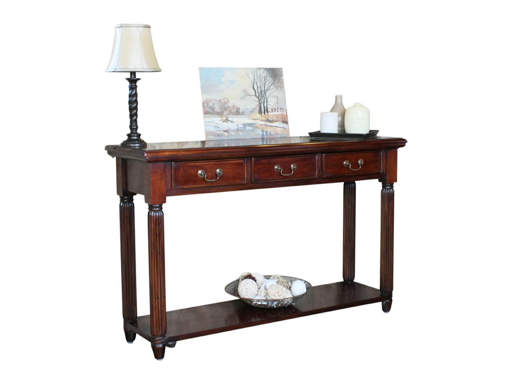 Mahogany hallway console table, featuring three small drawers for storage
