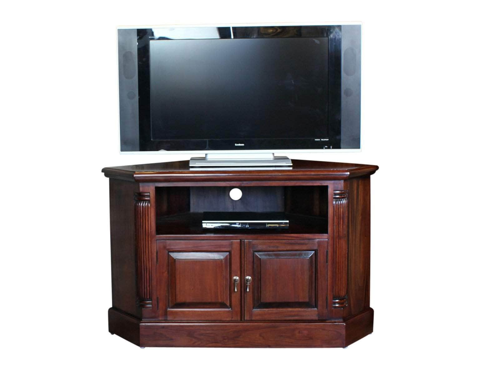 Mahogany corner TV stand, with media shelf and storage cupboard behind double doors