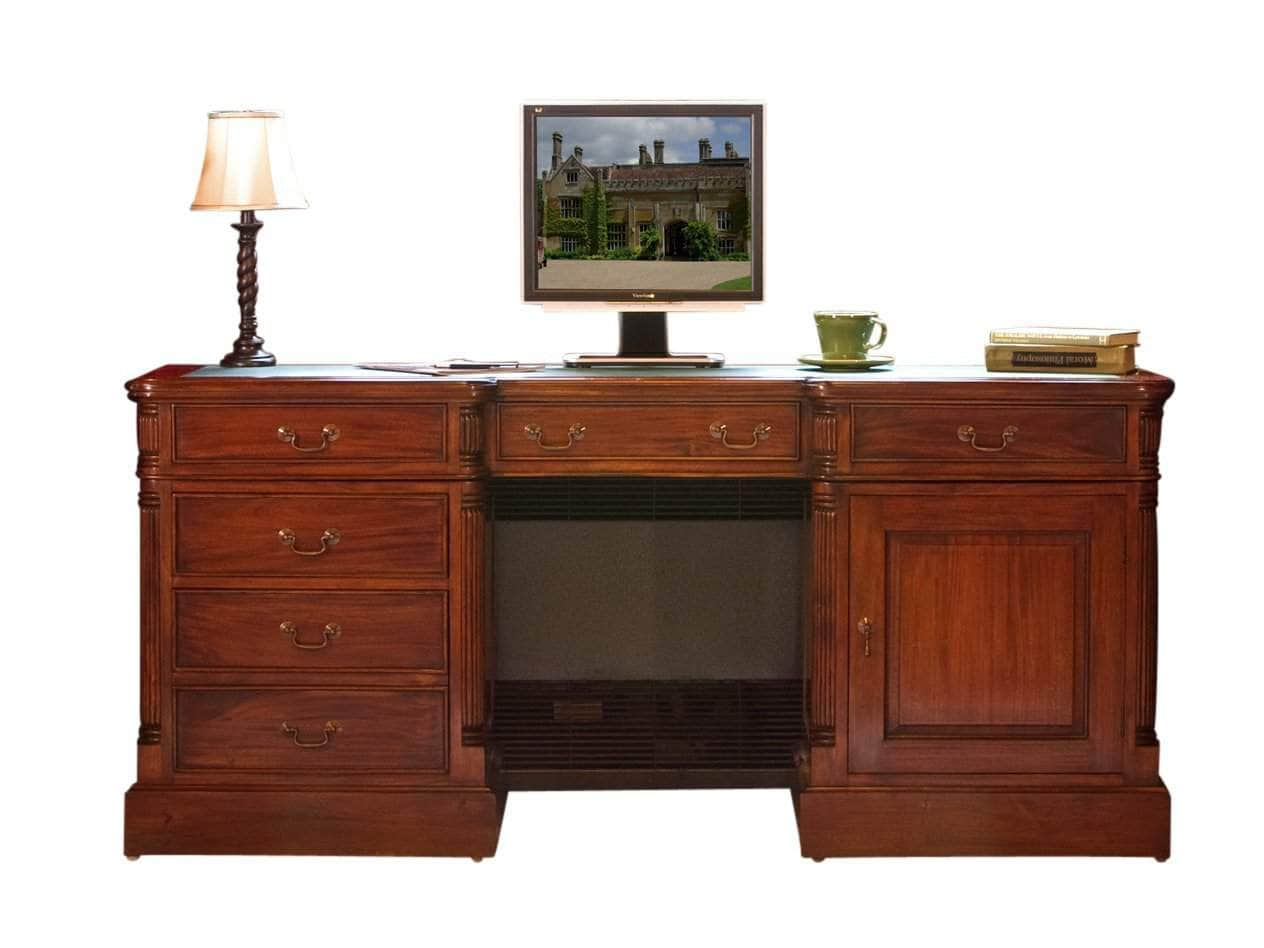 Large solid mahogany desk with five drawers, computer cupboard and keyboard shelf