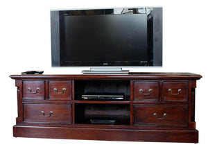 Large mahogany TV stand. Includes two shelves for media boxes and six drawers.