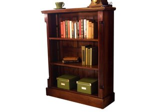 Three shelf, small mahogany bookcase