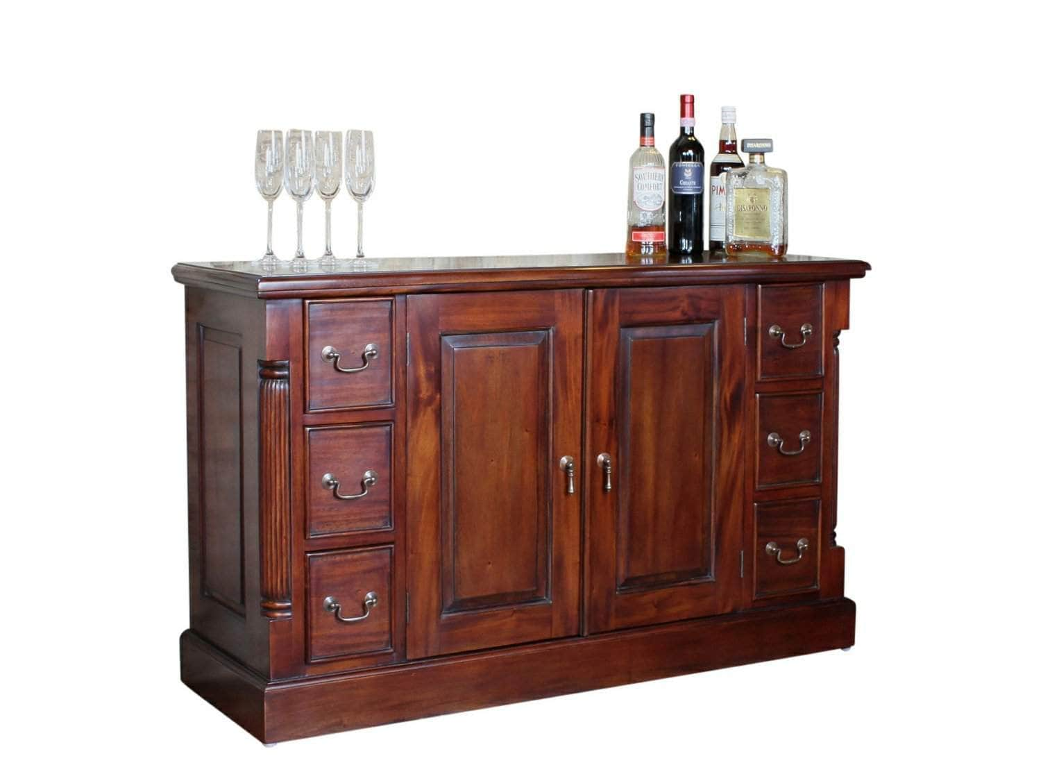 Large, solid mahogany sideboard. Features six small drawers and one large cupboard.