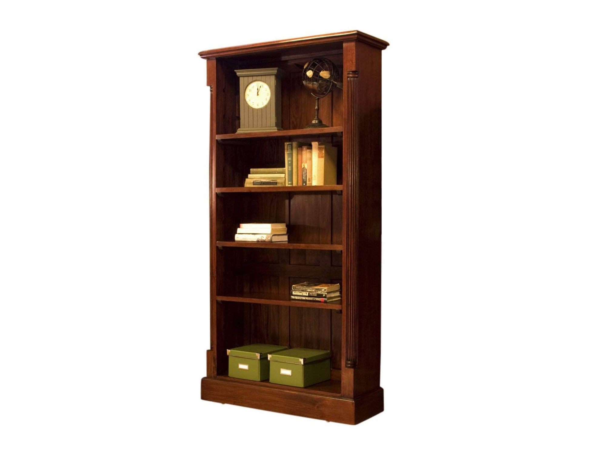 Large solid mahogany bookcase with five shelves