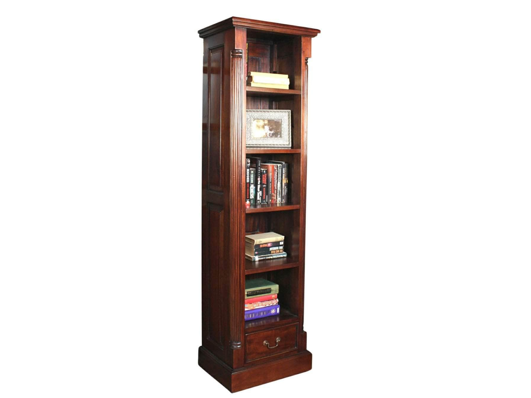 Narrow bookshelf made from mahogany wood, with five shelves and small drawer at the base
