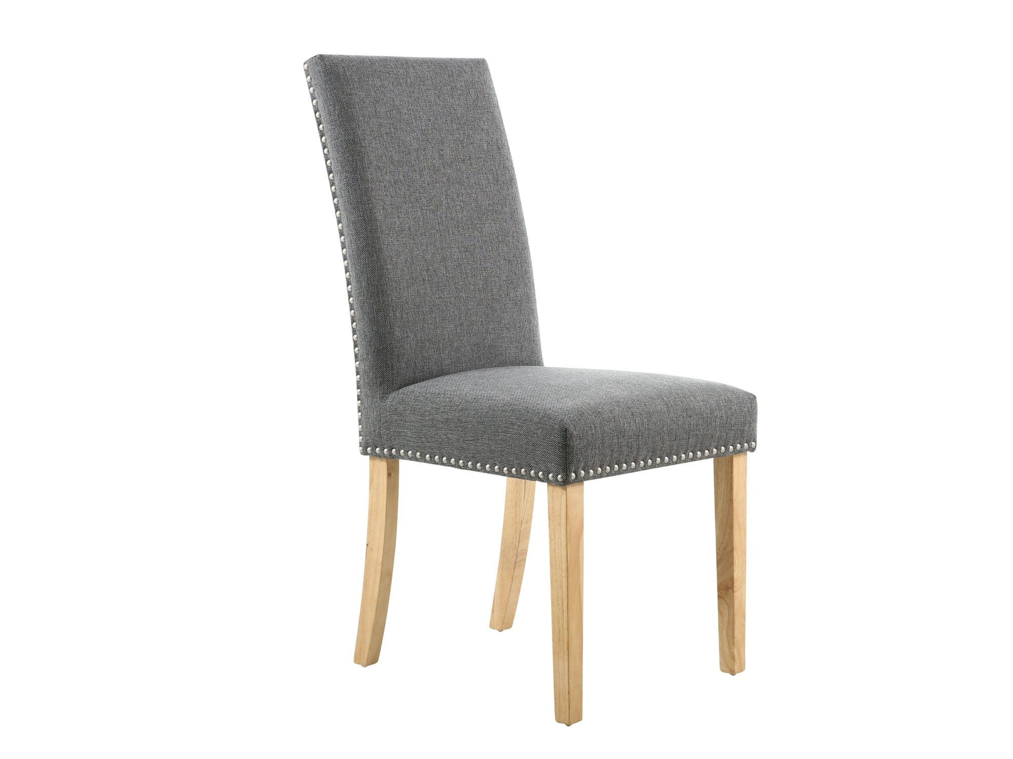 Modern dining chair upholstered in dark grey linen fabric with decorative chrome studs