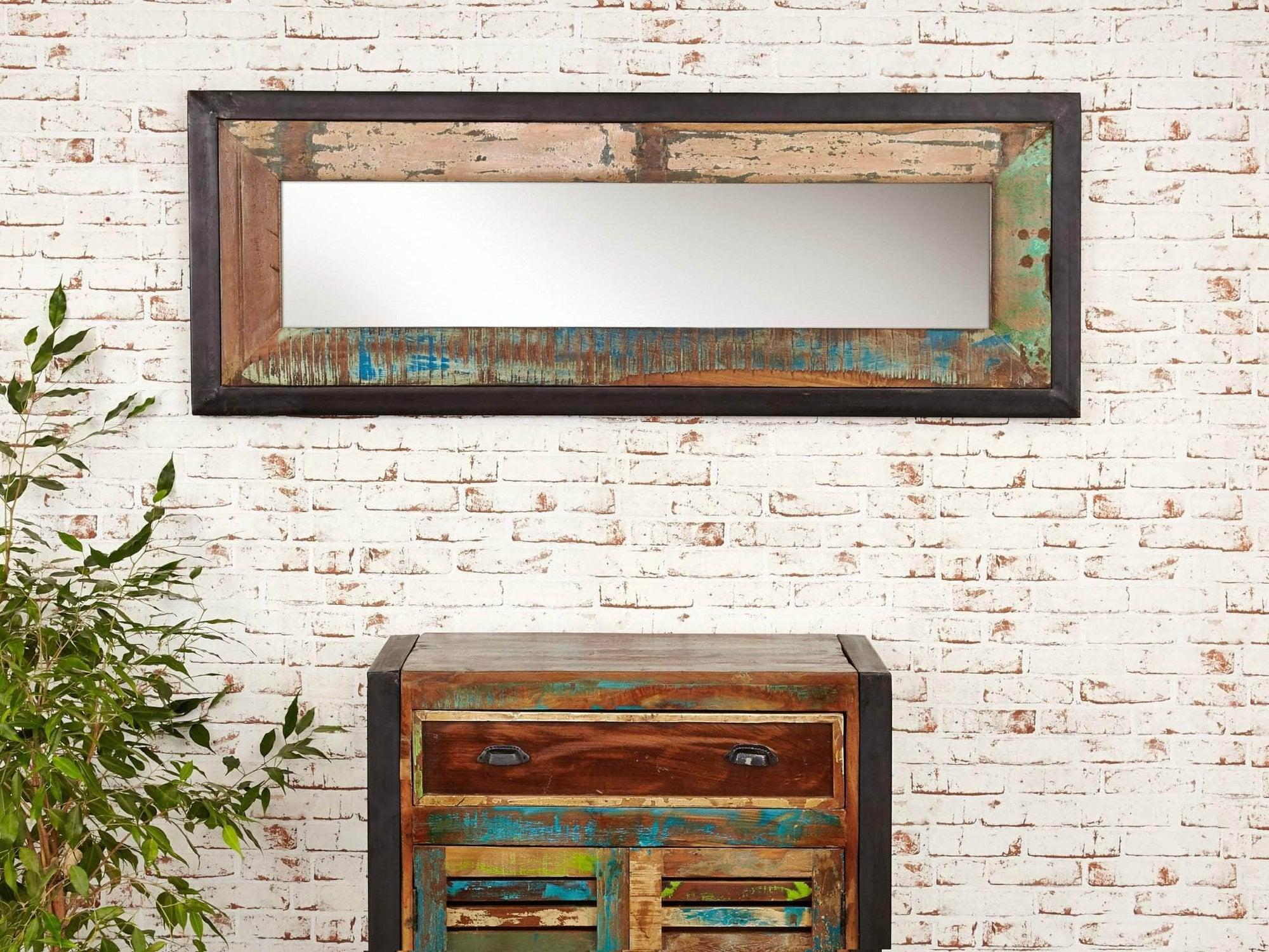 Asia range medium size reclaimed wood mirror