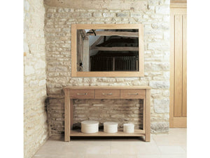 Medium solid oak mirror - console table available separately
