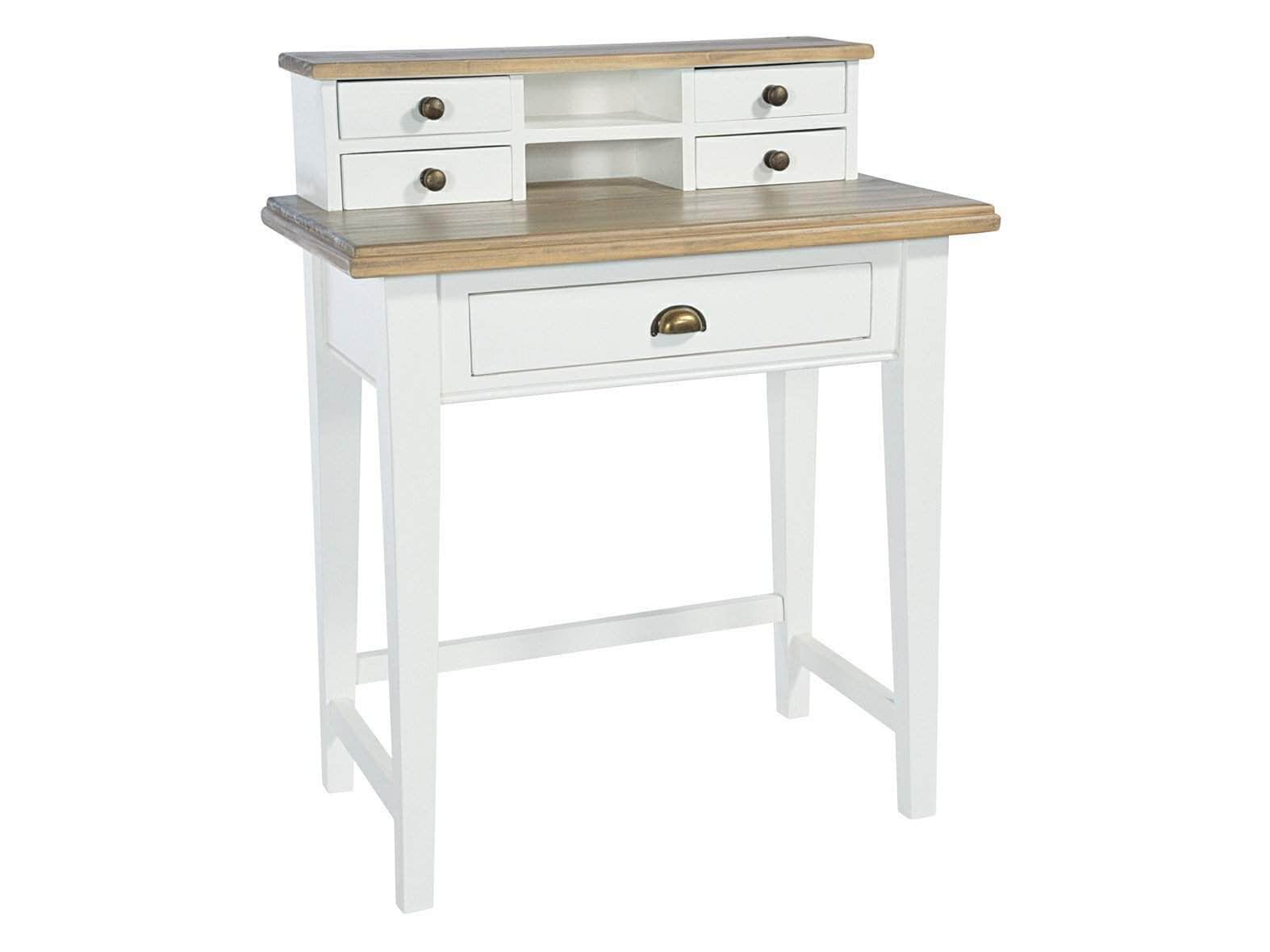 Traditional, white-painted writing desk with five drawers