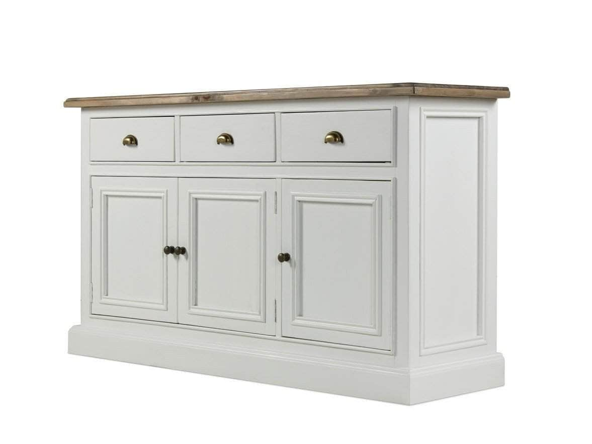 Large, country cottage style sideboard, painted in white, with rustic top