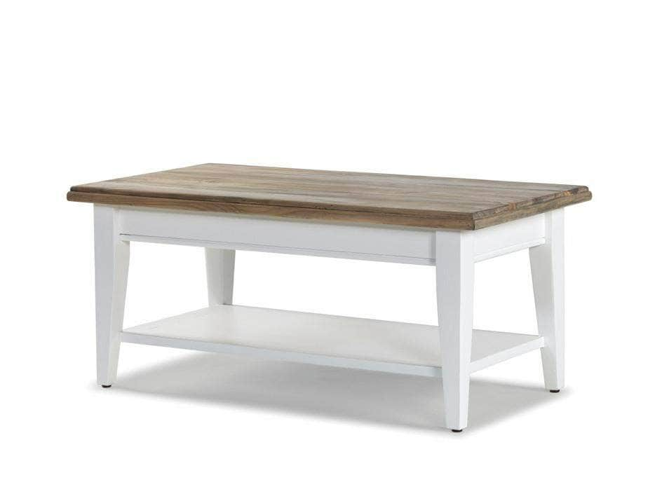 White-painted farmhouse style coffee table with under shelf