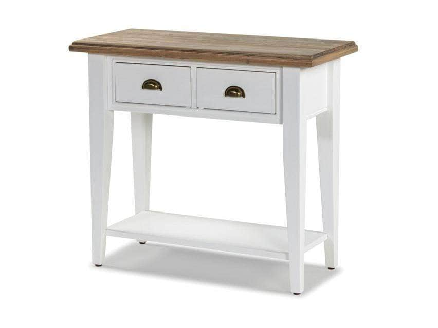 White hallway console table with rustic top and two small drawers for storage