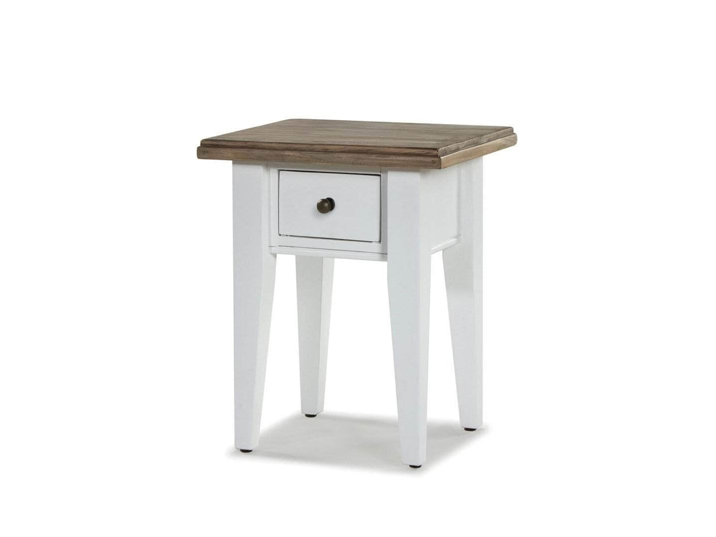Small, white-painted side table with rustic top and one small drawer