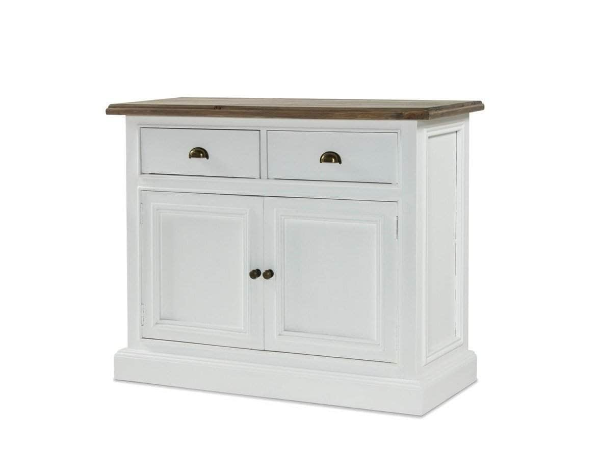Small sideboard painted in white, with natural wood top, two drawers and one bottom storage cupboard