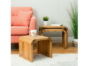Lichfield Curved Solid Oak Nest - Three Tables