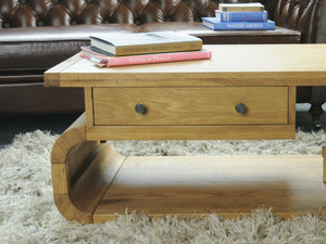 Lichfield Curved Light Oak Coffee Table With Drawer