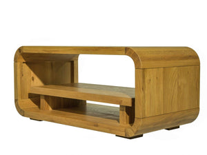Lichfield modern design TV stand, made with solid oak and curved edges