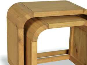 Lichfield Curved Solid Oak Nest - Two Tables