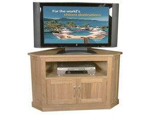 Solid oak corner TV stand, which includes shelf and storage cupboard
