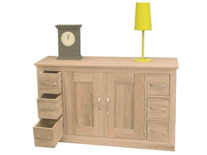 Medium size sideboard made from oak, with six small drawers plus cupboard