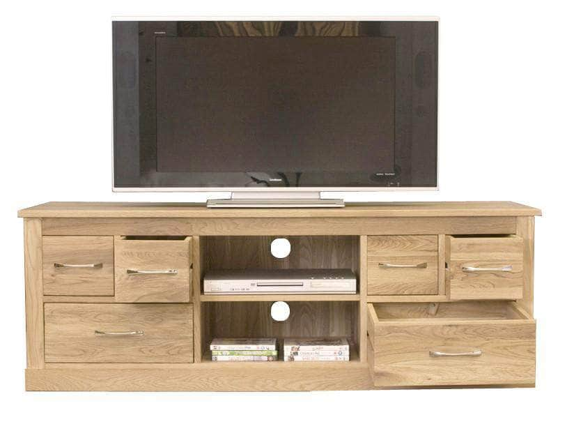 Large solid oak TV stand with two shelves and six drawers for DVD storage