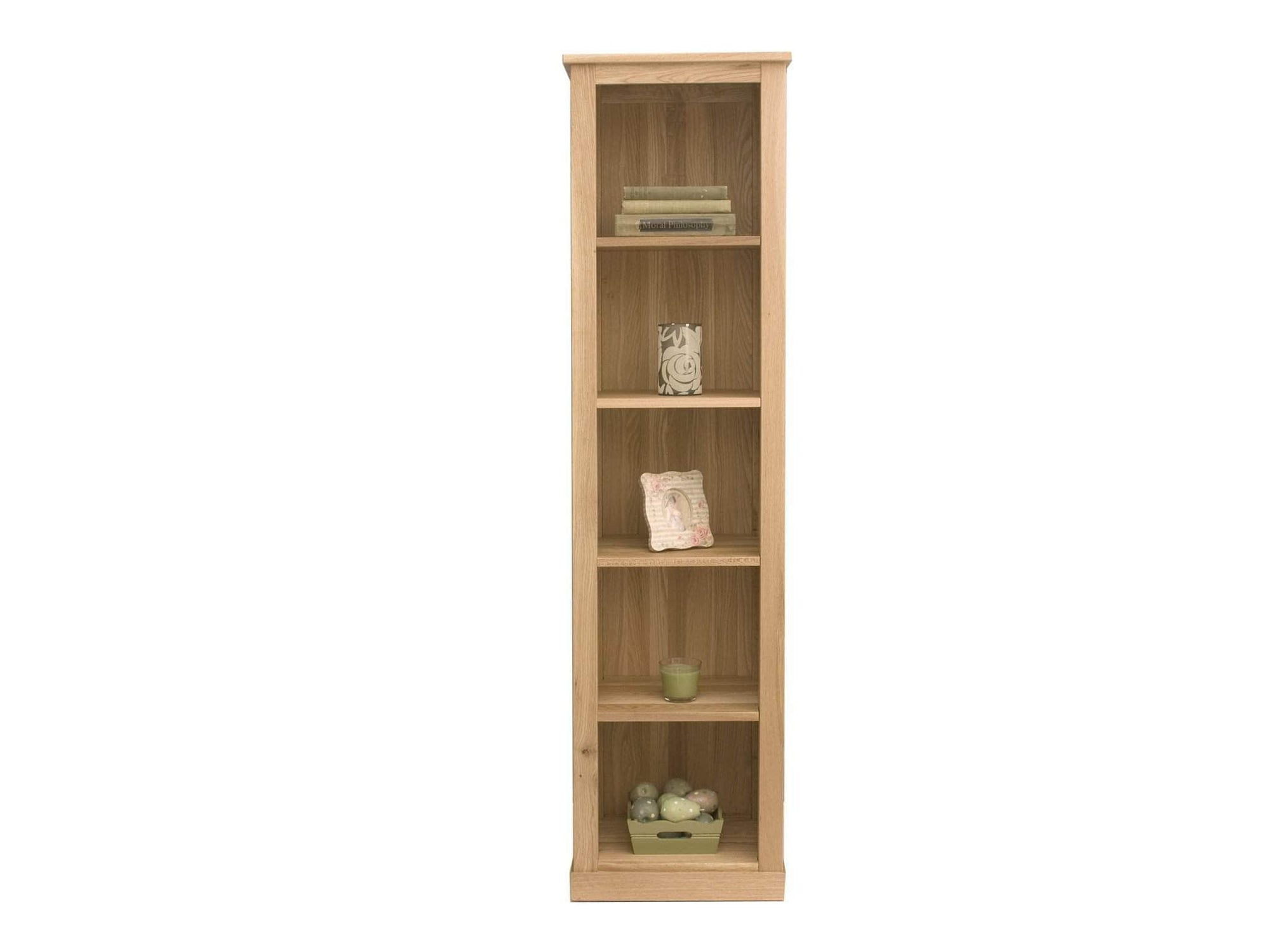 Narrow oak bookcase with five shelves