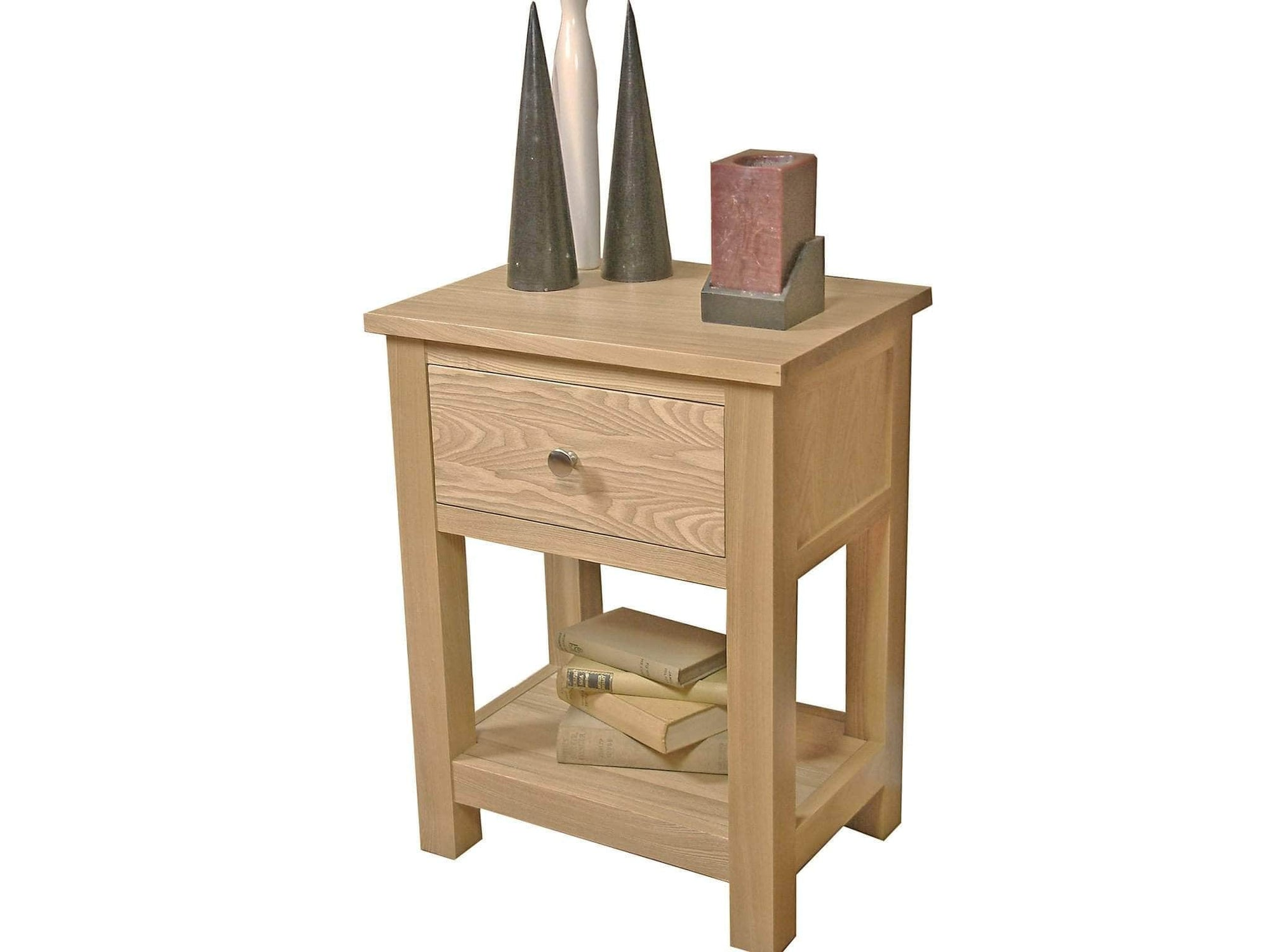 Small solid oak side table with one top drawer plus under shelf