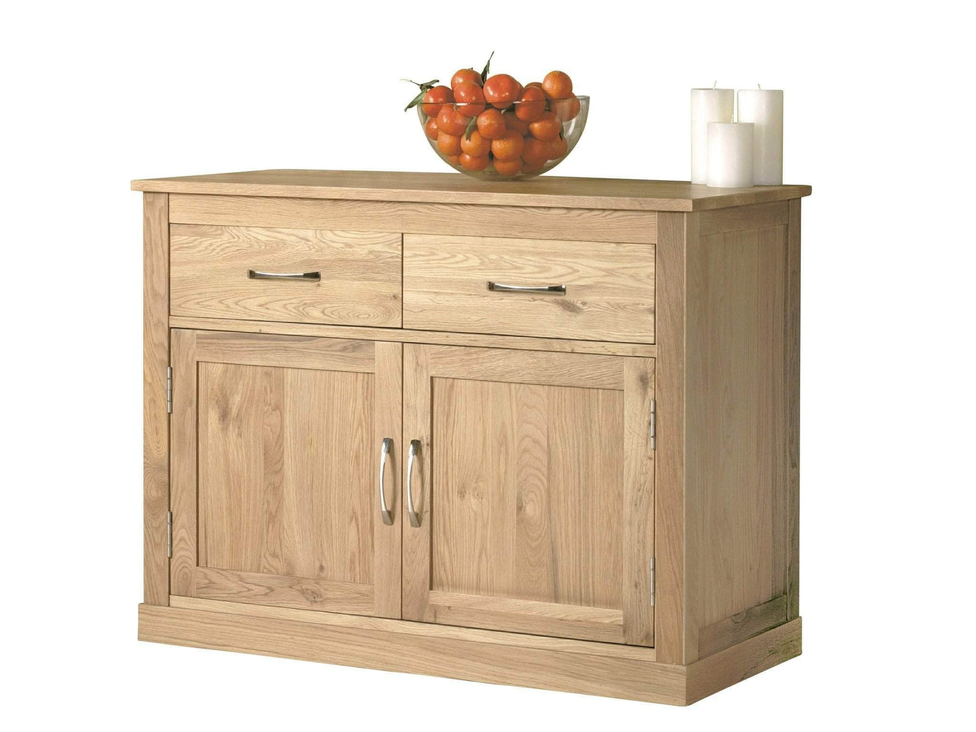 Small, low height sideboard made from solid oak, with two drawers and a cupboard