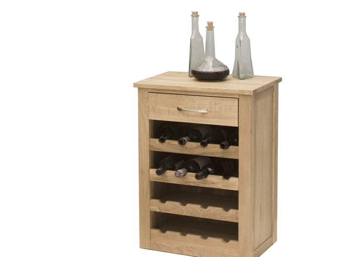 Solid oak wine rack cabinet for twenty bottles, plus small top drawer