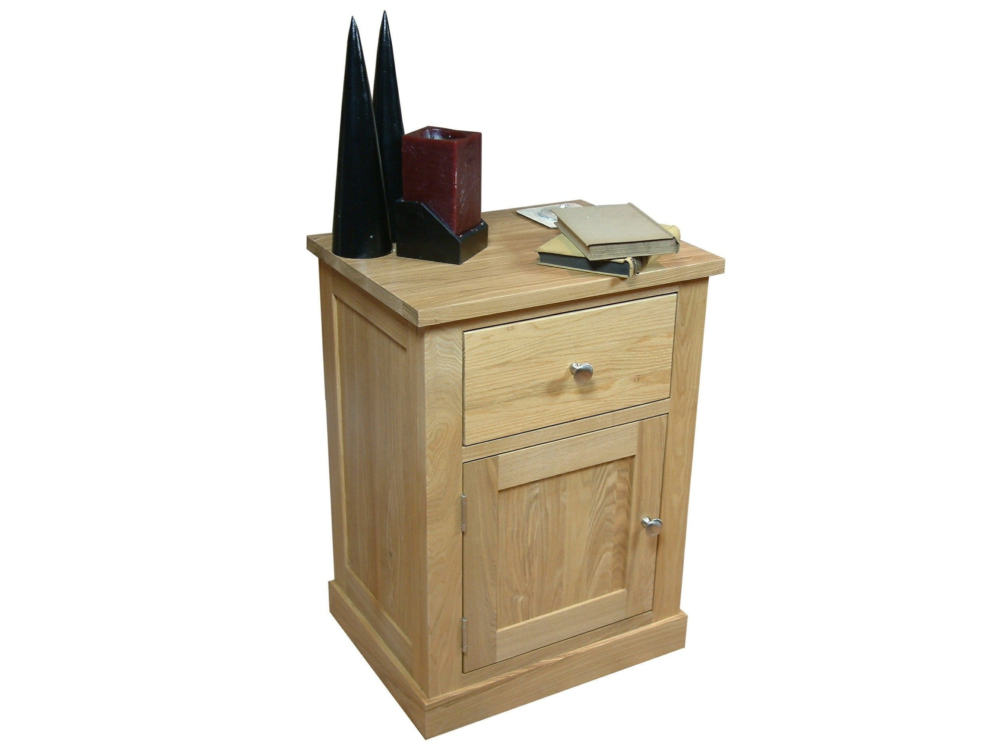 Solid oak side table with top drawer and small storage cupboard