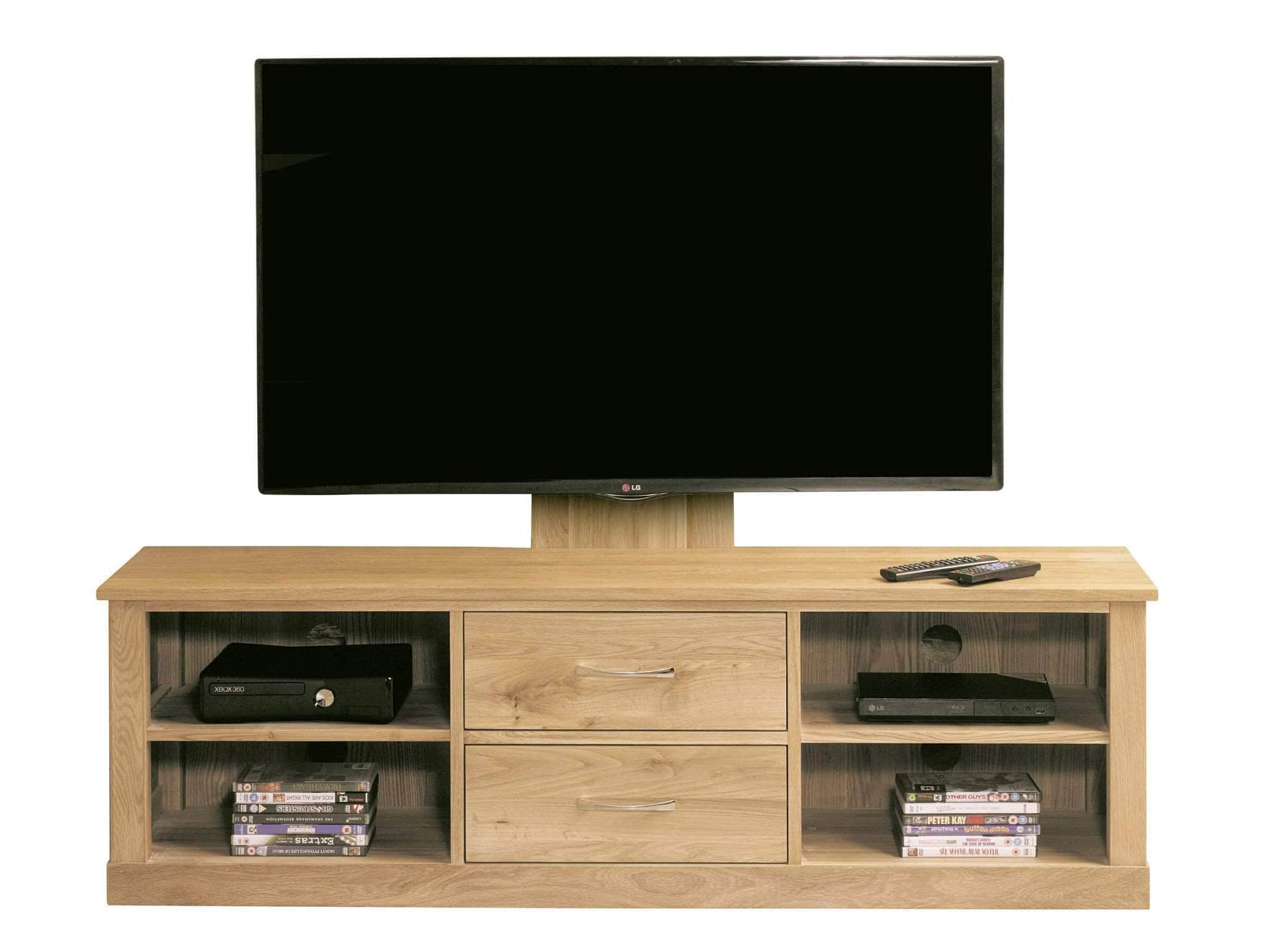 Mounted TV stand made from solid oak, featuring two drawers and four shelves